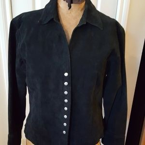 Coldwater Creek black suede leather jacket